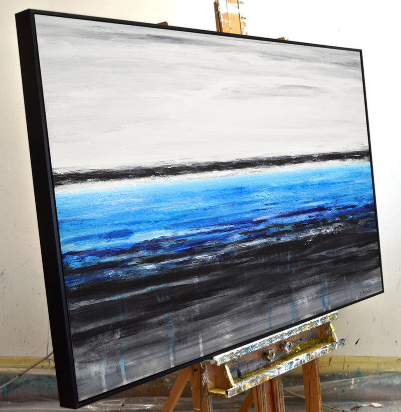 """Deep Waters"" Abstract painting blue white black"