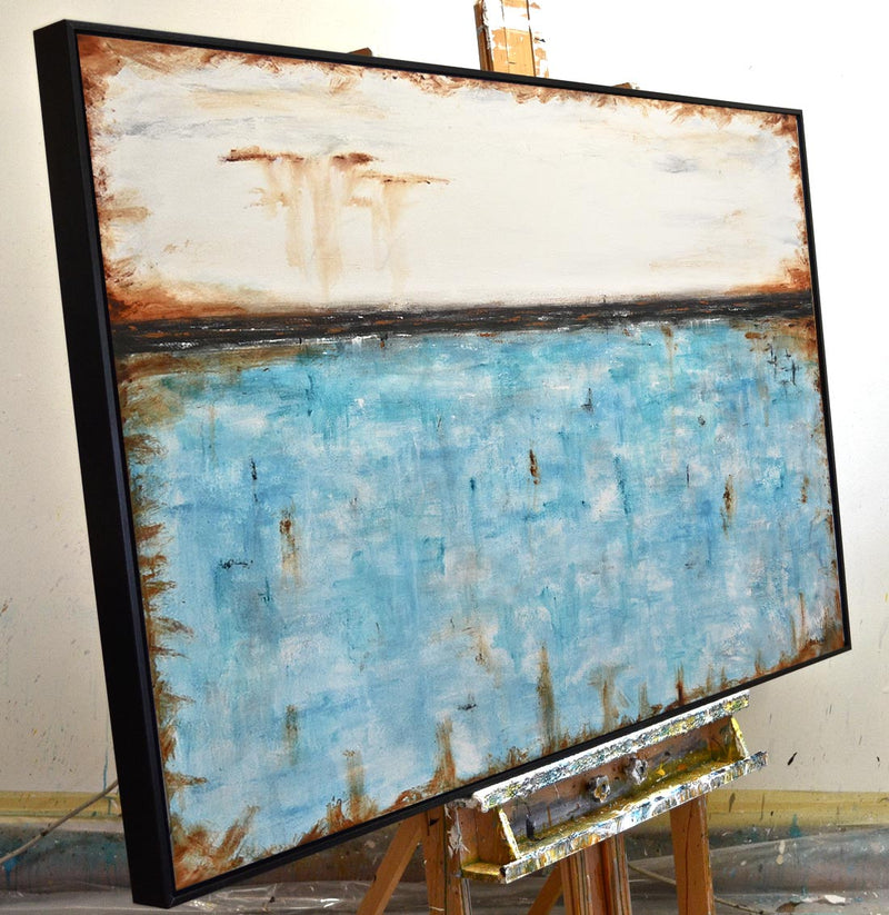 """Live Forever"" Large abstract panoramic blue painting"