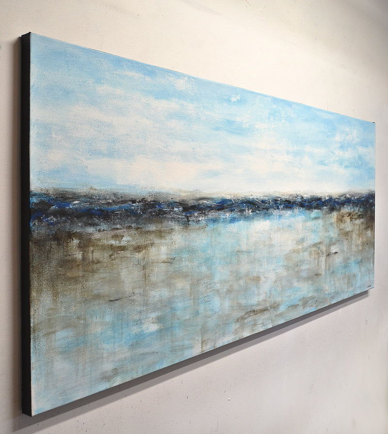 """Home Coming"" Blue abstract landscape panoramic original"