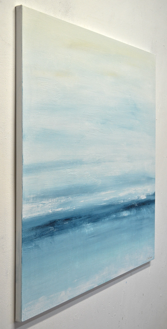 """New Horizons"" Abstract landscape painting blue 30 x 30"