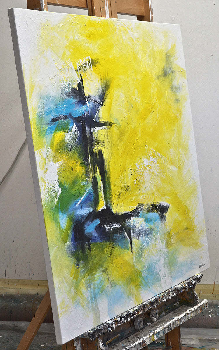 """Confidence"" yellow abstract oil painting contemporary"