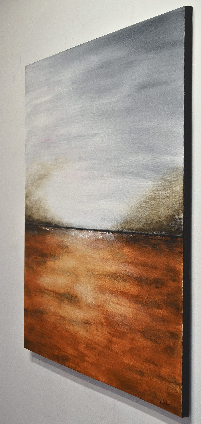 """The Change"" Abstract landscape painting 36 x 36 amber wall art"