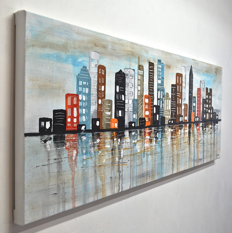 """Bright Lights"" Urban abstract painting skyline town"