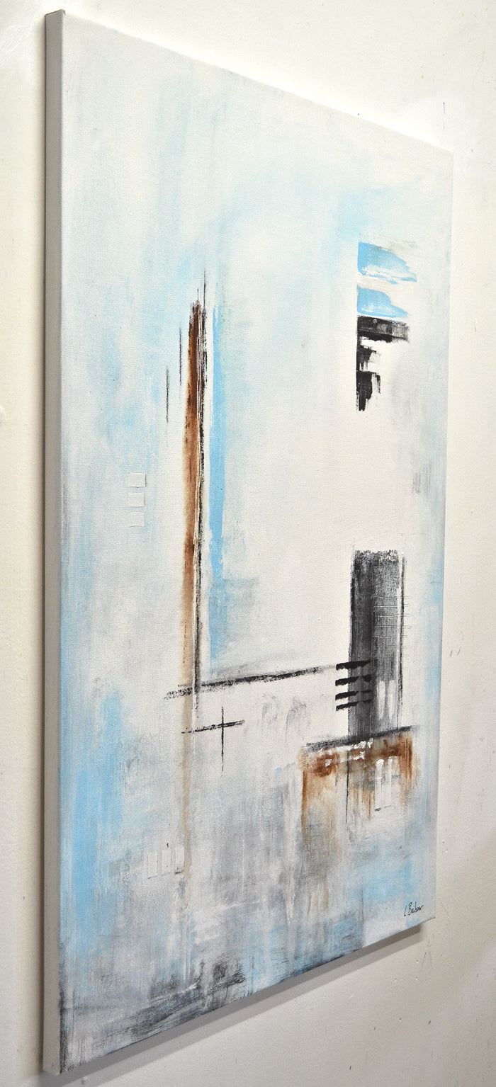"""Pressure Drop"" White blue 24x36 original abstract painting"
