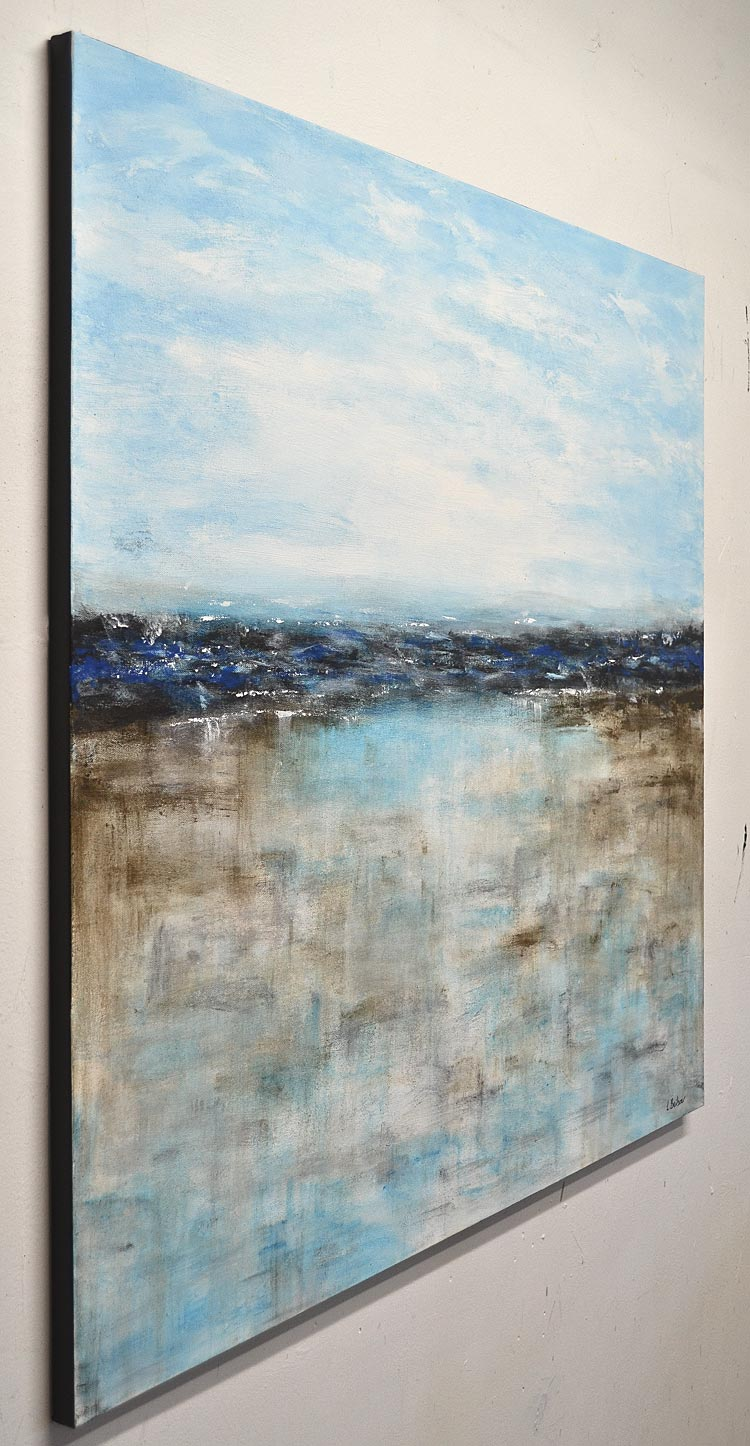 """Way Back Home"" Blue landscape original abstract painting"