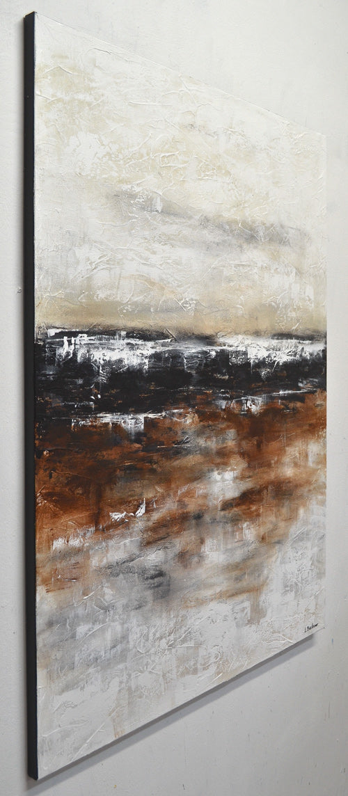 """Inner Calm"" abstract painting textured earth tones artwork"