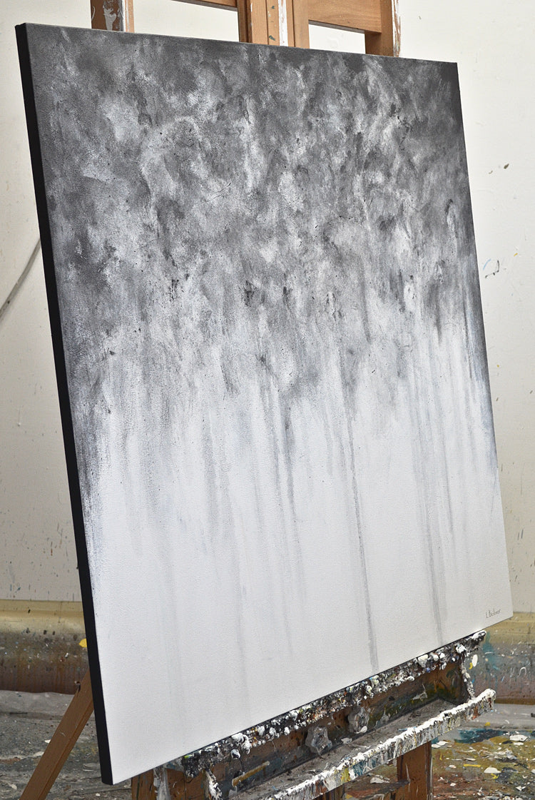 """Overcast"" gray abstract painting original design"