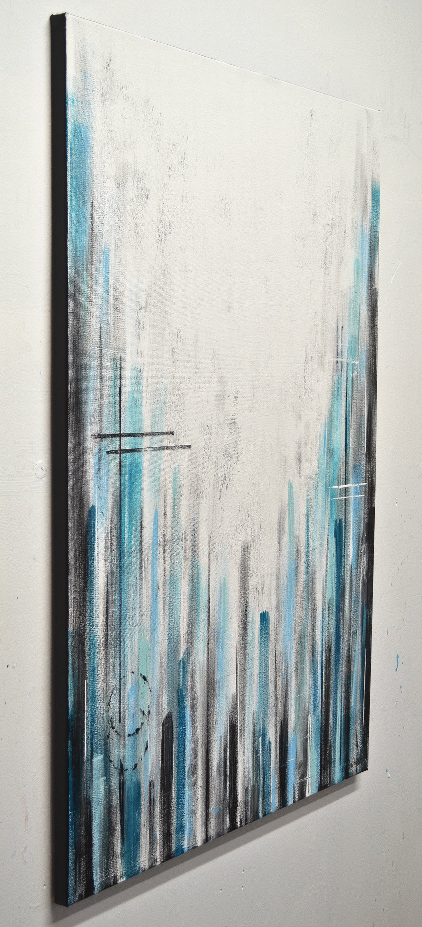Straight Face Blue White Striped Abstract Painting