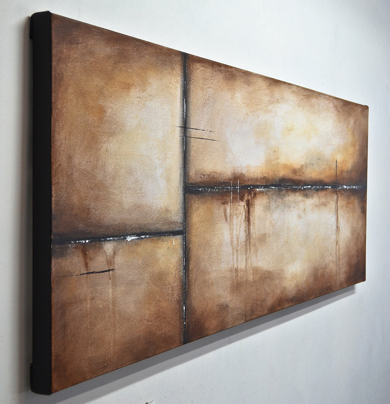 """Longest Night"" Panoramic 20x60 brown abstract painting"