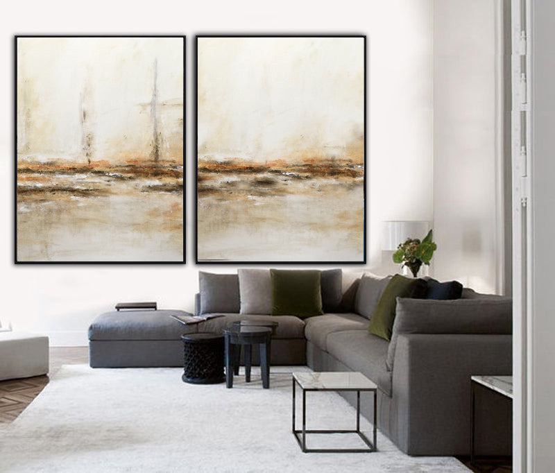 large abstract paintings sand brown original