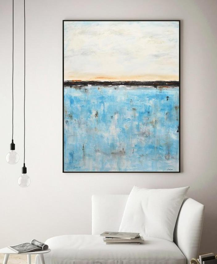30x40 turquoise abstract painting design gallery art