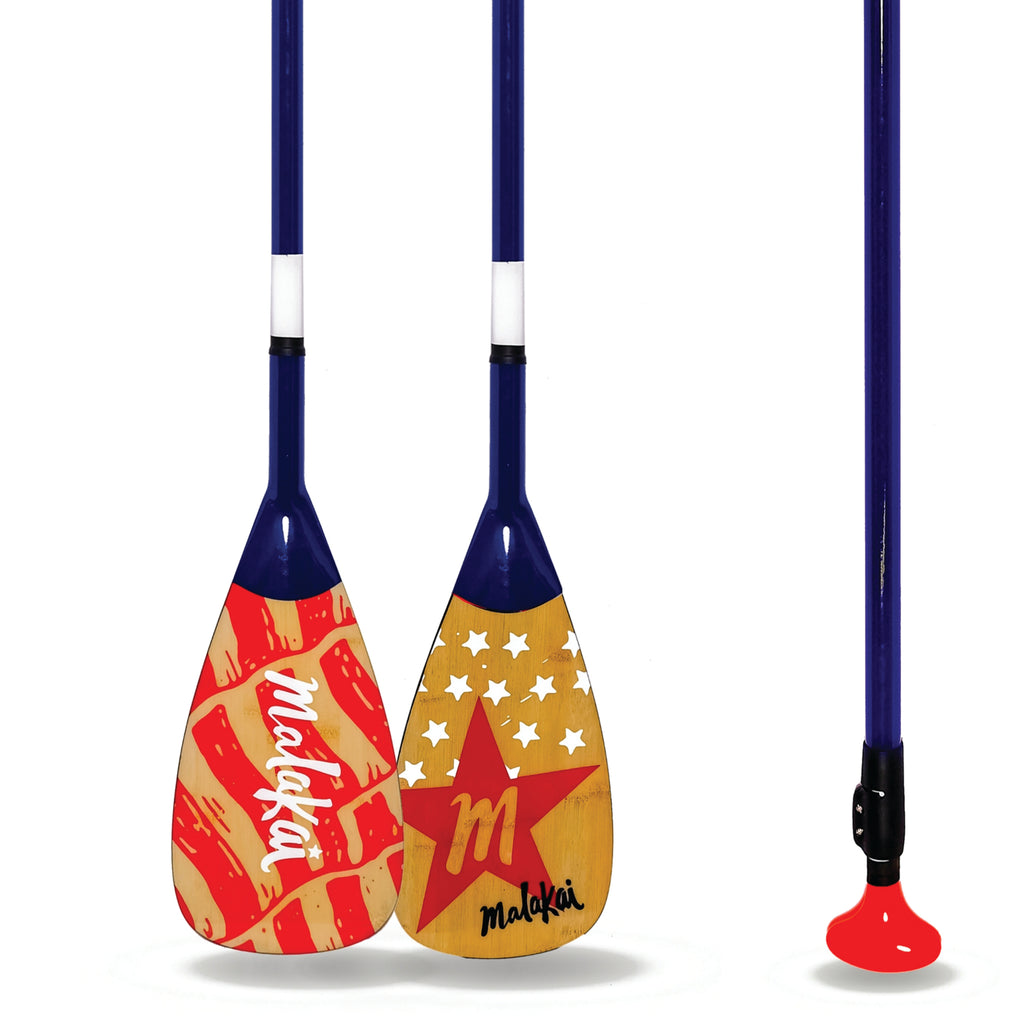 "MALAKAI CARBON FIBER ADJUSTABLE SUP PADDLE ""OLD GLORY"""