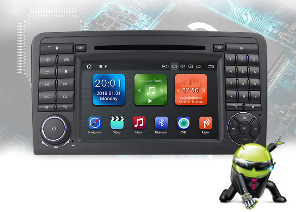 2005-2013 Mercedes Benz ML-class Android 8 1 Car Stereo with 7 inch Touch  Screen GPS Wifi Bluetooth Support Steering Wheel Control Mirror Link Backup