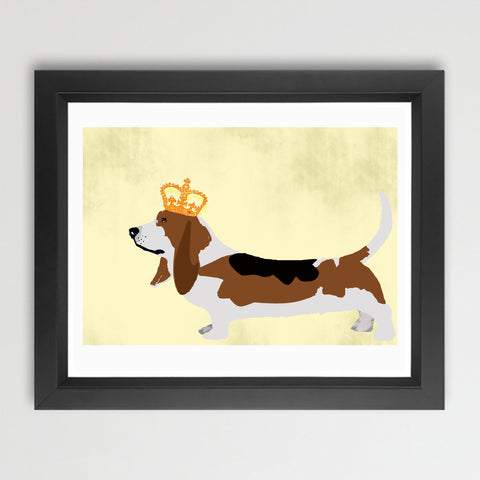 Basset Hound Dog with Crown art print