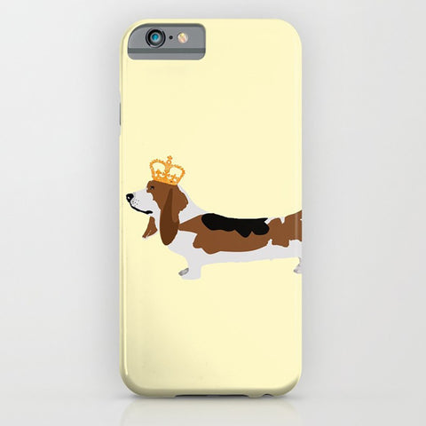 Basset Hound Dog with crown - phone case