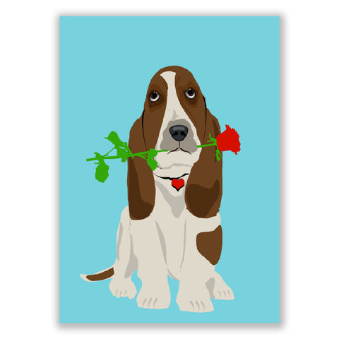 Basset Hound Dog In Love art print