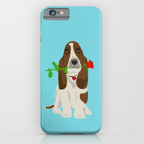 Basset Hound Dog in Love - phone case