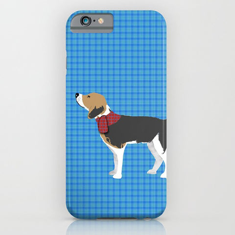 Beagle Dog on Blue Patterned Phone Case