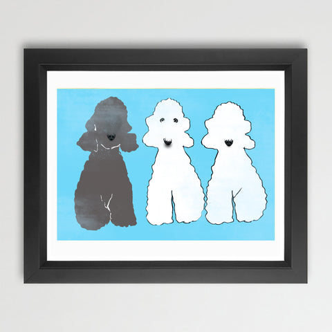 Bedlington Terrier Dogs - Fine Art Print, dog art, Bedlington terrier dog, Three Bedlingtons