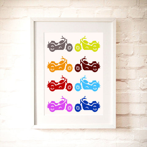 Multi Coloured Motor Bikes print