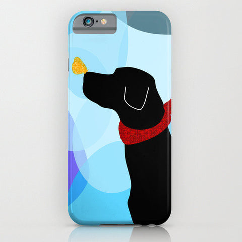 Black Labrador retriever dog on phone case