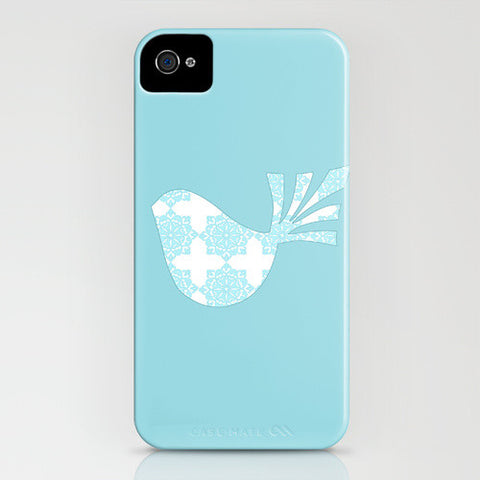 Bird with blue floral design on phone case