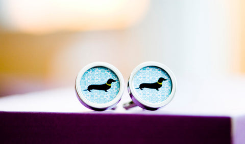 Dachshund on cufflinks