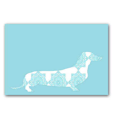 Floral Dachshund Dog on Blue - Fine Art Print