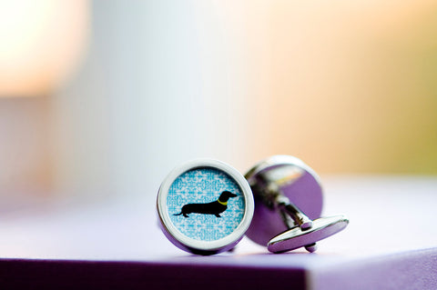 Dachshund dog on blue cufflinks