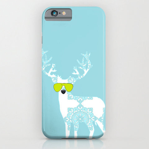 Floral Reindeer on Blue Phone Case