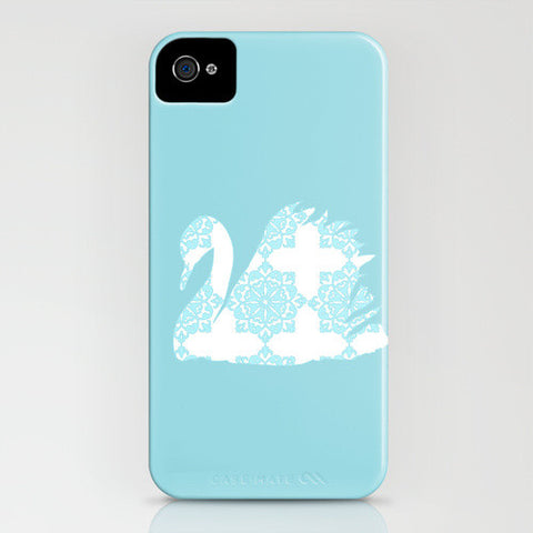 Swan with blue floral design on phone case