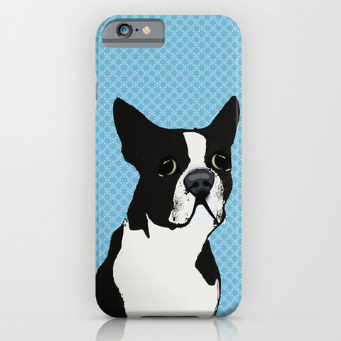 Boston Terrier Dog On Blue Pattern Phone Case