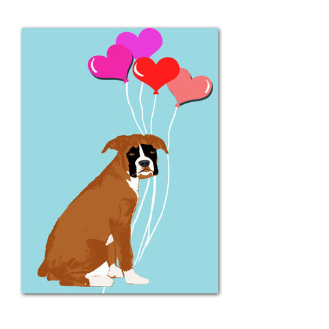 Boxer Dog with Hearts Art Print