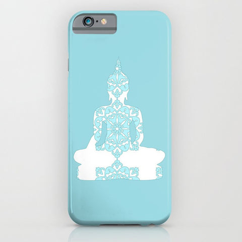 Damask Buddha on the  blue phone case