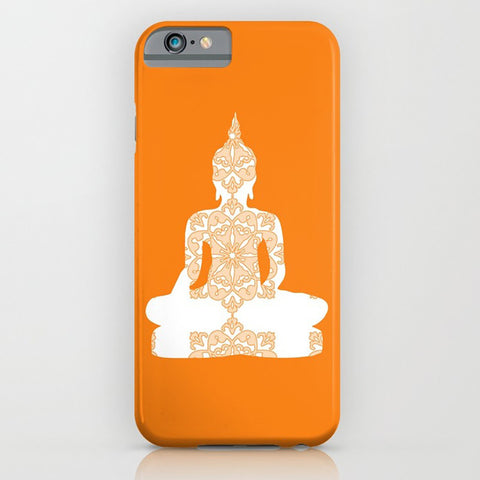 Damask Buddha on the  orange phone case
