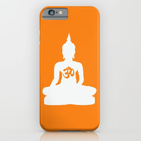 Yoga Inspired Buddha and OM on the  orange phone case