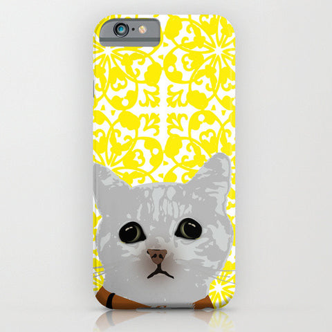 Cat on yellow floral on your phone case