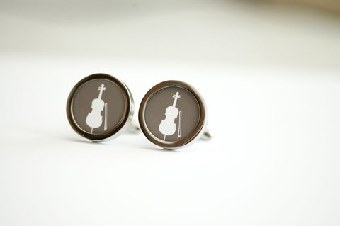 Cello on cufflinks - Musical instrument, Men's Cufflinks, Husband, Wedding gift, Novelty cufflinks for him