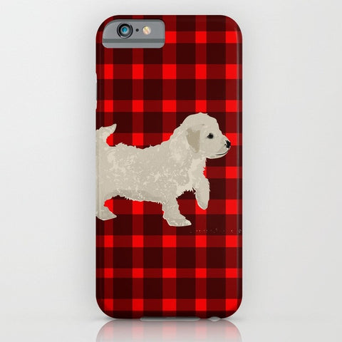 Cockapoo Dog on stripy Phone Case
