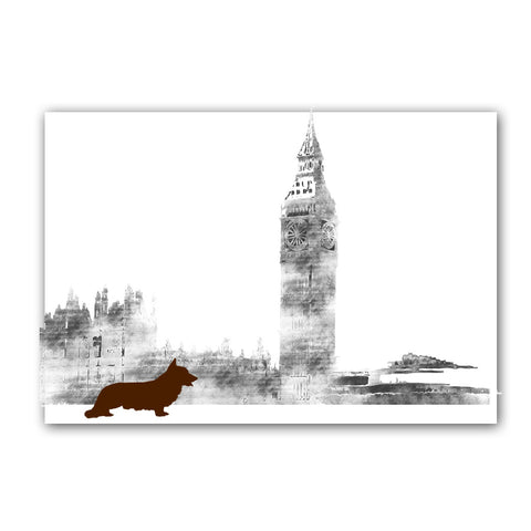 Corgi in London City Art Print