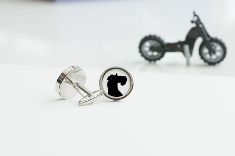 Wire Fox Terrier Dog Silhouette Cufflinks