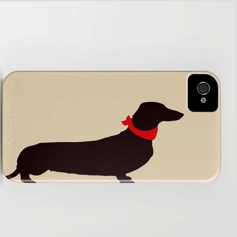 Dachshund Dog on Beige Phone Case