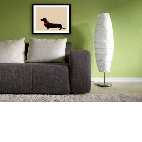 Dachshund Dog On Beige  - Fine art print, portrait, sausage dog