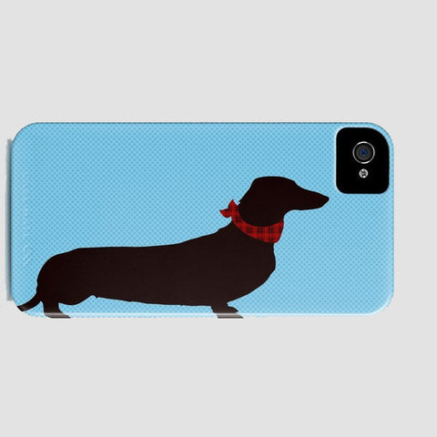 Dachshund Dog on Blue Pattern Phone Case