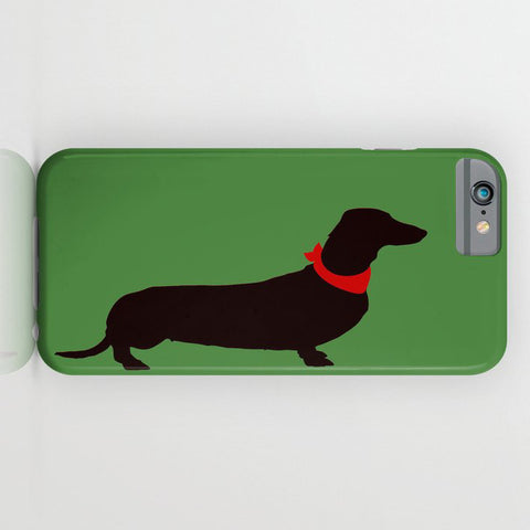 Dachshund Dog on Bottle Green Phone Case