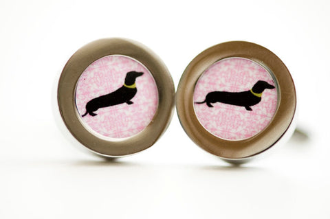 Dachshund dog on pink cufflinks  -  Mens Cufflinks, Husband, Wedding gift, Novelty cufflinks