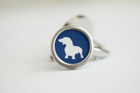 Dachshund dog on your cufflinks on blue - Mens Cufflinks, Husband, Wedding gift, Novelty cufflinks for him, Dachshund Gifts, Dog Gift Ideas