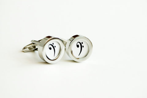 Bass Clef on cufflinks - Music note cufflinks, Wedding gift, Novelty cufflinks, F Clef, Bass Clef