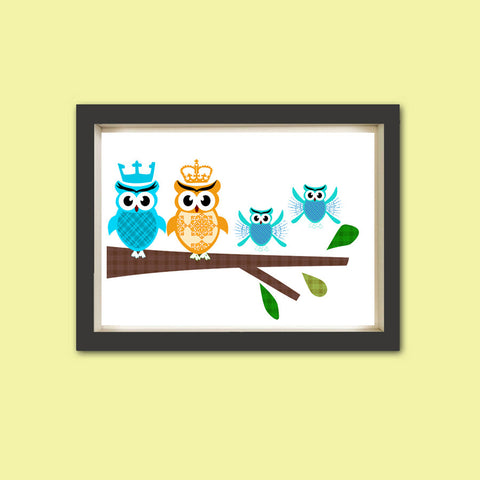 The Owl family - Family of four, nursery owl, gift for new family, owl art print, nursery decorating ideas