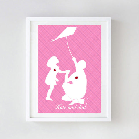 Father and daughter flying kite - Fine art print